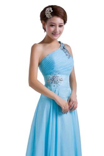 sera con ONE Blue DLFashion perline pavimento vestito Chiffon Light lunghezza spalla yAqUgSq