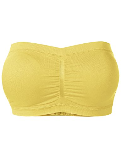 Basic Strapless Seamless Padded Bandeau Solid Color Tube Bra Tops