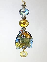 Blue and Golden Amber Glass Ceiling Fan Pull Chain Fish