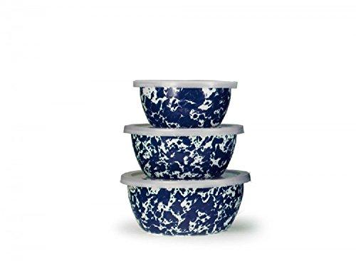 Golden Rabbit Enamelware, Cobalt Swirl Small Nesting Bowls, Set of 3 bowls with lids, 5½, 6½ & 7 inch diameters, 3, 4 & 6 cup (Nesting Swirls Set)
