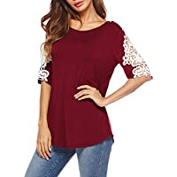 Oyanus Womens Shirts Casual Tee Round Neck Short Sleeve Lace Loose Fits Tunic Tops Blouses