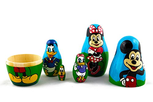 Matryoshka Babushka Russian Nesting Wooden Doll Cartoon Mickey Mouse Minnie Donald Duck Babouska Matrioska Stacking 5 Pcs by MATRYOSHKA&HANDICRAFT (Image #8)