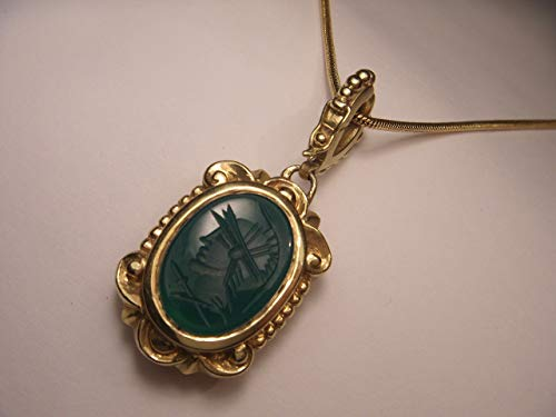 Onyx Enhancer - Etruscan 18K Yellow Gold Intaglio Onyx Green Agate Pendant Enhancer Slide
