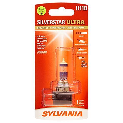 SYLVANIA - H11B SilverStar Ultra - High Performance Halogen Headlight Bulb, High Beam, Low Beam and Fog Replacement Bulb, Brightest Downroad with Whiter Light, Tri-Band Technology (Contains 1 Bulb)