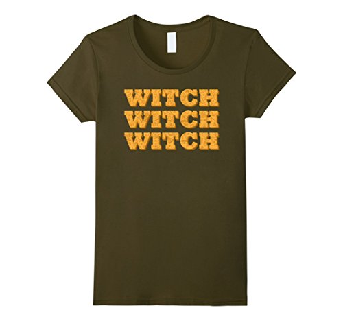 Womens Witch Witch Witch Funny Halloween T- Shirt XL Olive