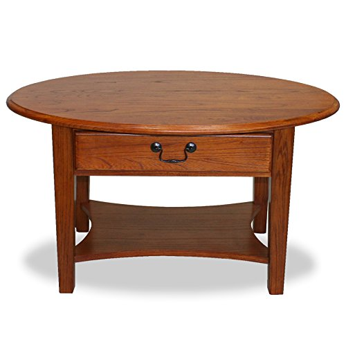 Leick Furniture Oval Coffee Table, Medium Oak