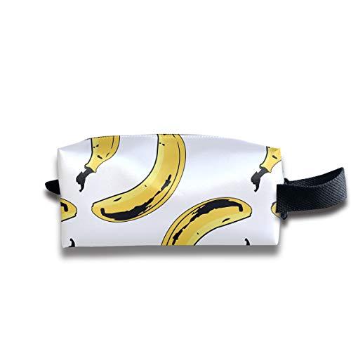 Clash Durable Zipper Wallet Makeup Handbag With Wrist Band Bananas Seamless Pattern Toiletry Bag