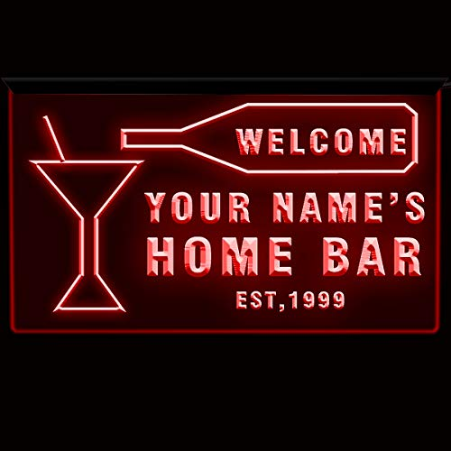 EAST-BIRD Text Personalized Home Bar Sign Neon Bar Decor 3D Engraving Blue/Green/White/Red (DRed, 12