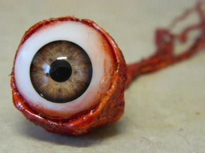 Ripped Out Eyeball - LIGHT BROWN by Dead Head (Head Halloween Prop)
