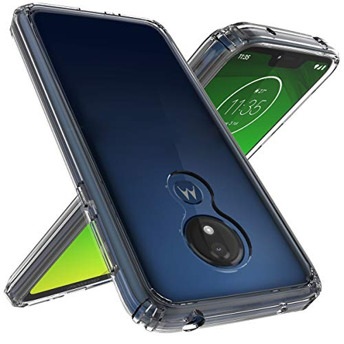 Moto G7 Power Case, Moto G7 Supra Case, OUBA [Shock Absorption] Air Hybrid Armor Defender Protective Case Crystal [Clear] Back Cover Compatible for Motorola Moto G7 Power - Clear Crystal