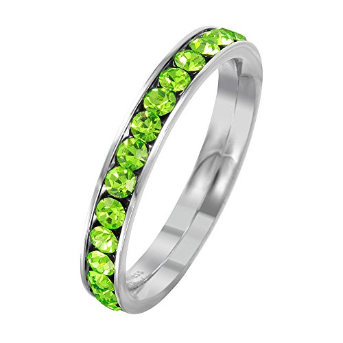 (SURANO DESIGN JEWELRY 3mm Stackable Stainless Steel Eternity Band Ring w/Crystal Birthstones (August-Peridot Colored, 10))
