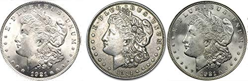 1921 P 1921-D, 1921-S Morgan Silver Dollar 3-Coin Lot $1 Seller XF ()