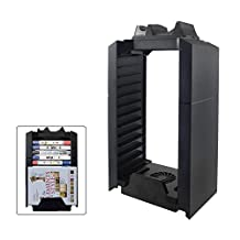 SUNKY - PS4 / PS4 Slim / Pro Game Storage Holder, Playstation 4 Dual Controller Charging Station Dock Stand & USB Cooling Fan Cooler & Multifunctional PS4 Video Games DVD BluRay Storage Tower