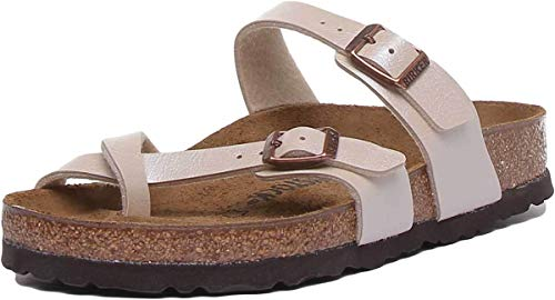 - Birkenstock Women's Mayari Adjustable Toe Loop Cork Footbed Sandal Pearl Wht 36 M EU