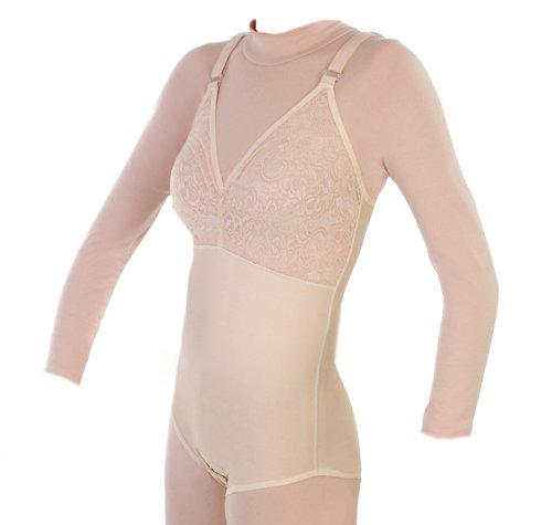 Post abdominoplasty Compression Grament - Cosmetic Breast Surgical Recovery - Thigh Lift Surgery Compression Bra | CountourMD :Style 32BNZ (X-Large, Beige)
