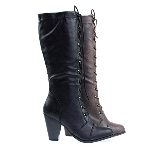 Heel Mid Calf Boots (Camila36 Black Women's Fashion Military Combat Boots w Chunky Block Heel, Faux Wood -7)