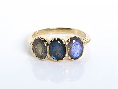 Signature 3-Stone Labradorite Ring set in 14K Yellow Gold, Sizes US 4-11