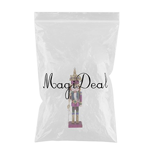 MagiDeal Vintage 30cm Wood Glittery Nutcracker Soldier Figures Figurine Home Desktop Ornaments Children Xmas Birthday Gift Rosy by MagiDeal (Image #2)