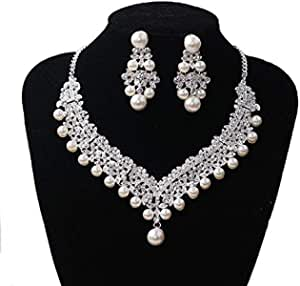 Women's Pearl necklace earrings Fashion Joker Earring Necklace Jewelry Set Clothing Delicate and elegant accessories