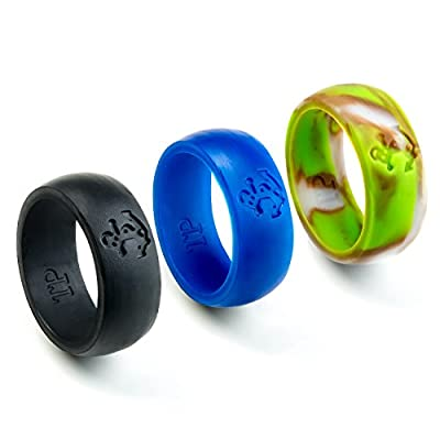 Silicone Wedding Band for Men Set of 3 Jewelry Rings - Anchor Design 9mm Prime Black, Blue & Camo