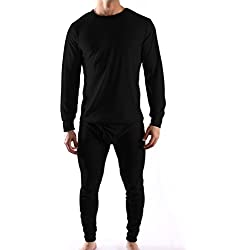 Mens Thermal Underwear Sets Interlock Jersey Or Waffle Knit - Assorted Colors (X-Large, Waffle- Black)