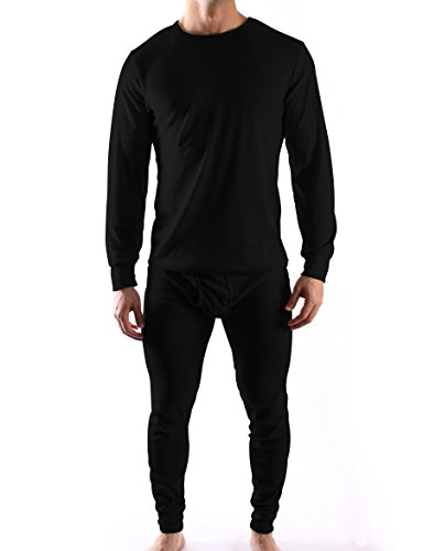 Mens Thermal Underwear Sets Interlock Jersey Or Waffle Knit - Assorted Colors (X-Large, Waffle- Black) (Man Thermal Underwear compare prices)