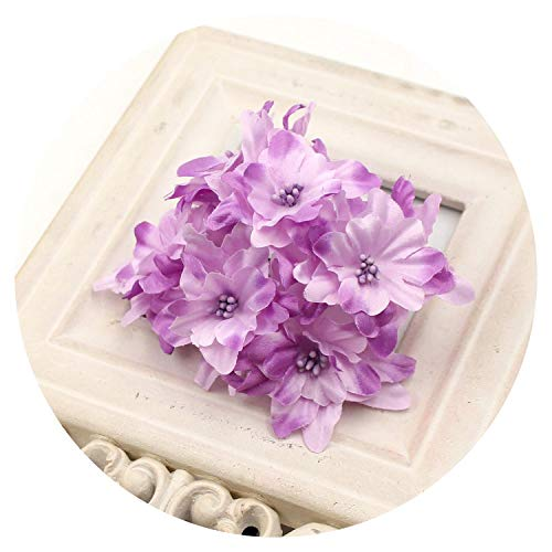 Mo Duo Fake Flowers 12pcs 4.5cm Silk Gradient Artificial Lily Flower Bouquet for Wedding Home Decoration Wreath Scrapbooking Craft Flower,Purple