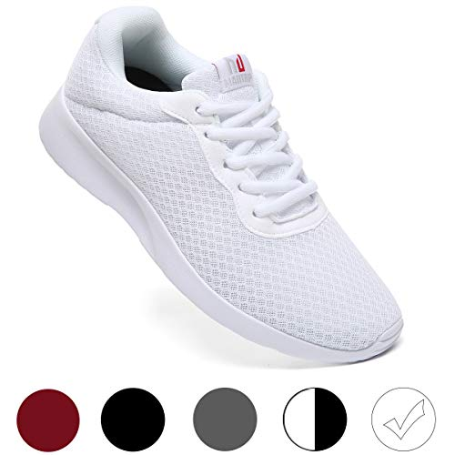 MAITRIP Mens Gym Shoes,Athletic Running Shoes,Lightweight Breathable Mesh Casual Tennis Sports Workout Walking Sneakers,All White,Size 10