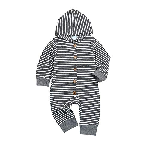 Newborn Baby Jumpsuit Infant Toddler Bodysuit Long Sleeve Striped Outfit Clothes
