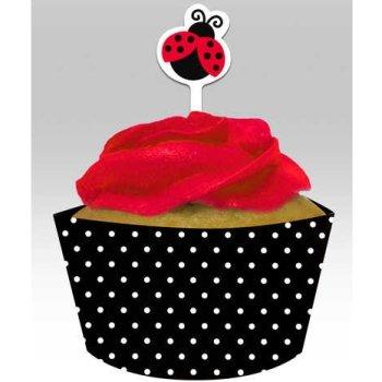 Ladybug Fancy Cupcake Picks Wrappers
