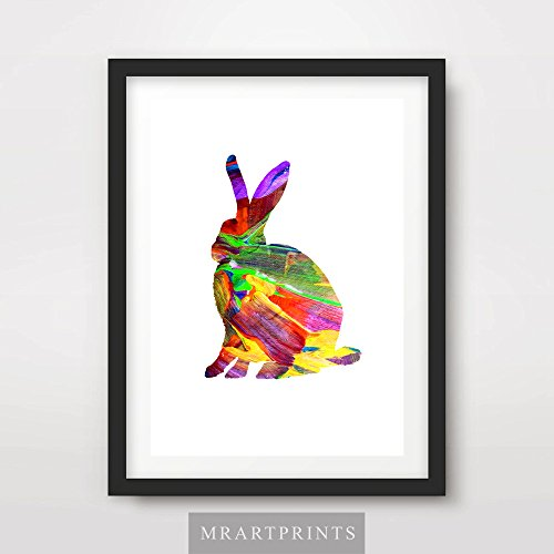 ANIMAL SILHOUETTE BUNNY RABBIT ART PRINT POSTER Bright Color Colorful Modern Contemporary Illustration Painting Home Decor Interior Design Wall Photo Picture A4 A3 A2 (10 Sizes)