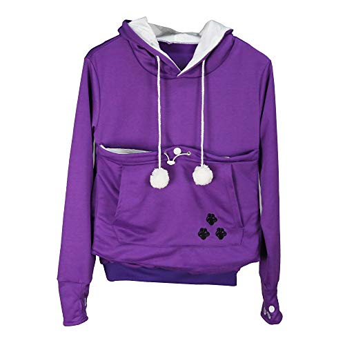 Pet Kangaroo Pouch Fashion Hoodies Pullover Cat Dog Holder Carrier Sweatshirt Purple S -