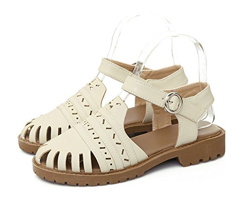 Aisun Womens Casual Comfy Hollow Belt Buckle Flat Sandals Beige VRhoU