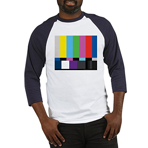 CafePress SMPTE Standard Definition Television Color Bars EG Cotton Baseball Jersey, 3/4 Raglan Sleeve Shirt Blue/White