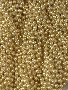 12 Gold Mardi Gras Beads Necklaces Party Favors Metallic 1 Dozen - Necklace Palm Gold