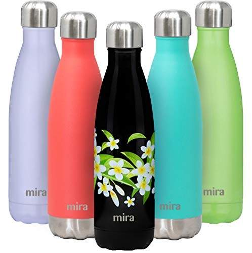 MIRA Insulated Double Wall Vacuum Stainless Steel Water Bottle 17oz Peonies