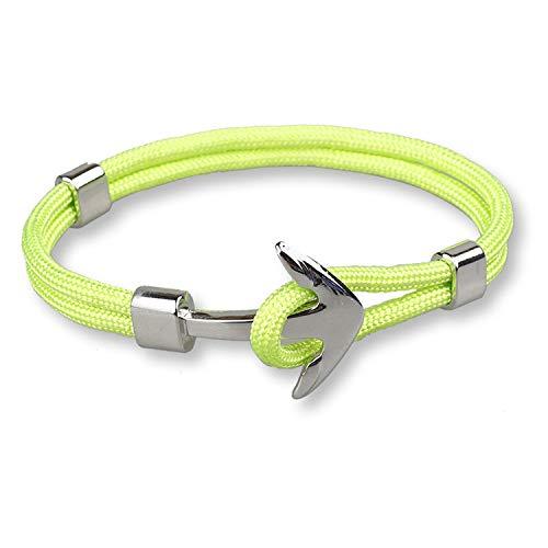 Cyan mango Bracelets Homme for Men Nylon Rope Anchor Bracelets Stainless Steel Jewelry,A25
