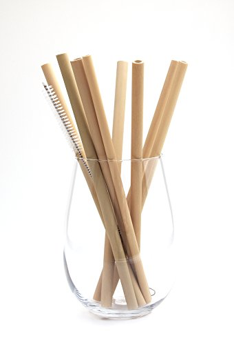 BULUH STRAWS - 8' ORGANIC BAMBOO DRINKING STRAWS | REUSABLE | ECO FRIENDLY | HAND-CRAFTED NATURAL ALTERNATIVE TO PLASTIC, GLASS AND STAINLESS STEEL | SET OF 8, CLEANING BRUSH AND CUSTOM BAG