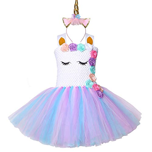 Dress For Kid Girl (HJTT Pastel Unicorn Tutu Dress for Girls Kids Birthday Party Unicorn Costume Outfit with Headband (Color 4,)