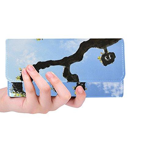 (Unique Custom Plane Tree Kahl Branches Crown Avenue Spring Sky Women Trifold Wallet Long Purse Credit Card Holder Case Handbag)