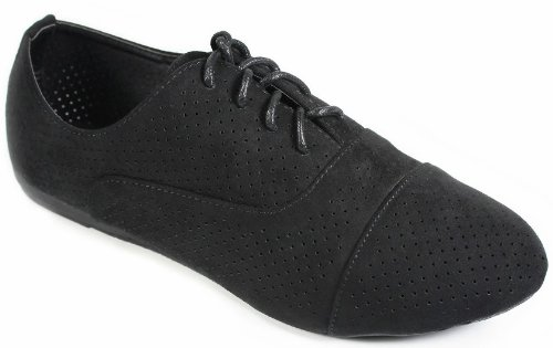 Cutout Lace N35 Shoes Up 5 Loafer Oxford Flat JJF Perforated Black Breathable Comfort Shoes xpUw0qHfY