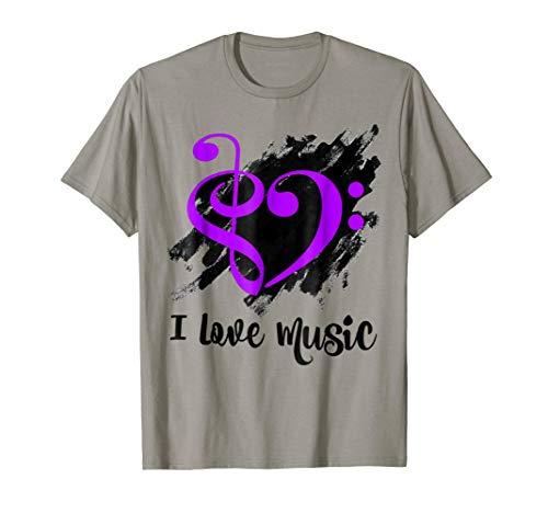 Treble Clef Bass Clef Purple Heart I Love Music Bassist T-Shirt
