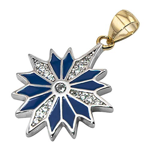 Jerusalem Pearls Sterling Silver 925 with Blue Enamel & Zircons - Blessed Pendant of Star of Bethlehem from The Nativity Church