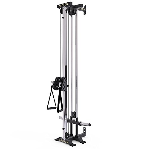 (ARCHON Wall Mount Commercial Ball Bearing Cable Station | 17 Position Adjustable Dual Pulleys | Home Gym Equipment | Cable Crossover Machine | Weight Machine | Cable Pulldown | Functional Trainer)