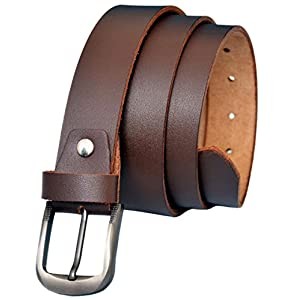 MT Men's Genuine Top Grain Leather Belt for Dress & Jeans - Black & Brown Color (Brown, 38)
