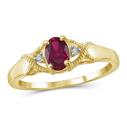(Jewelexcess 0.45 CTW Genuine Ruby Gemstone and Accent White Diamond Ring in 14k Gold Over)
