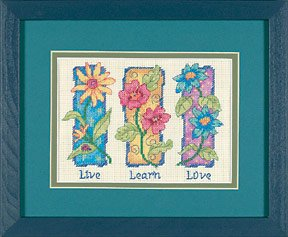 Dimensions Live, Learn, Love Mini Counted Cross Stitch Kit-7 Inch x5 (Learn Love Counted Cross Stitch)