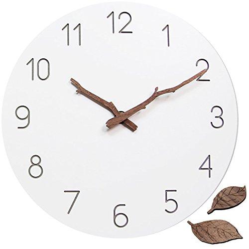 ATREES Natural Wooden Wall Clock Silent & Non-Ticking Quartz Movement 11-inch Round White Clock