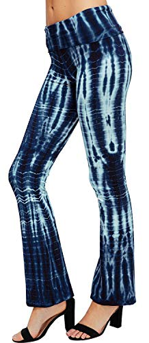 (URBAN X Women's Tie Dye Yoga Pants Made in USA (Large, Blue Bamboo Dye))