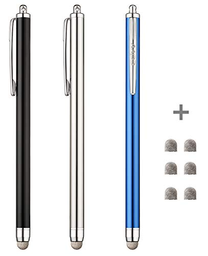 CCIVV Stylus, 3 Pcs Mesh Fiber Tip Stylus Pens for Touch Screen Devices + 6 Extra Replacement Tips (Black/Silver/Dark Blue)